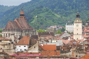 Romania, Transylvania, Brasov, City with Black Church and Town Hall by Walter Bibikow