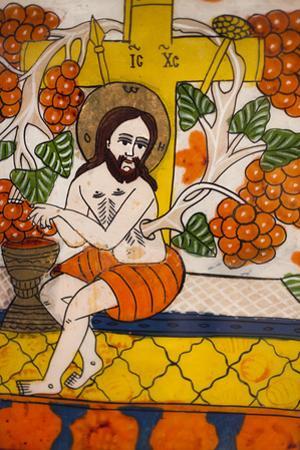 Romania, Transylvania, Sibiel, Glass Icon of Jesus Christ