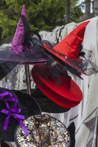 Romania, Transylvania, Tihuta Pass, Souvenir Market, Witch Hats by Walter Bibikow