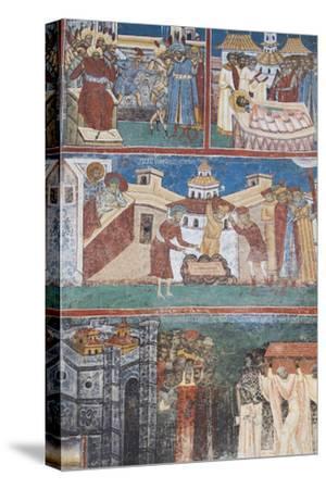 Romania, Voronet, Voronet Monastery, Frescoes Done in Voronet Blue