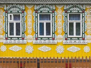Russia, Ivanovo Oblast, Golden Ring, Plyos, House with Traditional Russian Architecture by Walter Bibikow