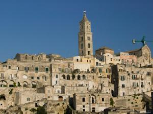 Sassi Houses and 13th Century Duomo, Sasso Barisano, Matera, Basilicata, Italy by Walter Bibikow