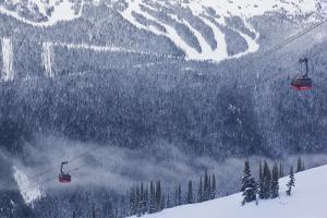 Skiing Gondola, Whistler to Blackcomb, British Columbia, Canada by Walter Bibikow