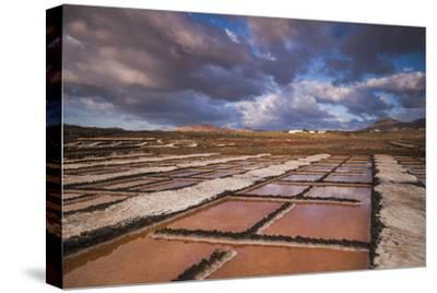 Spain, Canary Islands, Lanzarote, El Golfo, Salinas De Janubio, Salt Evaporation Pans, Sunset