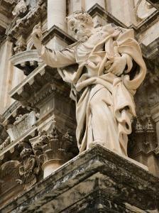 Statue at Duomo Cathedral, Ortygia Island, Syracuse, Sicily, Italy by Walter Bibikow