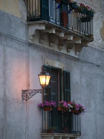 Streetlights on Via R. Settimo, Ortygia Island, Syracuse, Sicily, Italy by Walter Bibikow