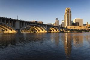 Third Avenue Bridge from Mississippi River at Dawn by Walter Bibikow