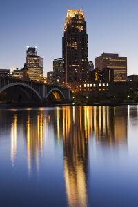 Third Avenue Bridge, Mississippi River, Minneapolis, Minnesota, USA by Walter Bibikow