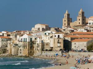 Town View with Duomo from Beach, Cefalu, Sicily, Italy by Walter Bibikow