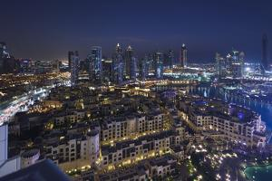 UAE, Downtown Dubai. Elevated view of Downtown area by Walter Bibikow