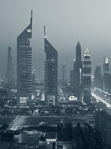 United Arab Emirates, Dubai, Sheik Zayed Road, Emirates Towers by Walter Bibikow