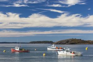 USA, Maine, Lubec. Fishing boats in Lubec Harbor by Walter Bibikow