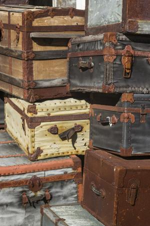 USA, Maine, Wells, antique luggage outside of old train station