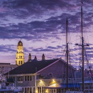 USA, Massachusetts, Cape Ann, Gloucester. Gloucester City Hall at dawn. by Walter Bibikow