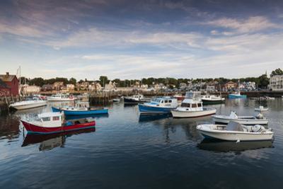 USA, Massachusetts, Cape Ann, Rockport, Rockport Harbor at dusk by Walter Bibikow