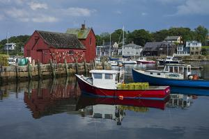 USA, Massachusetts, Cape Ann, Rockport, Rockport Harbor with boats by Walter Bibikow