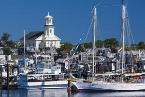 USA, Massachusetts, Cape Cod, Provincetown, Macmilan Pier, Town View with Public Library Building by Walter Bibikow