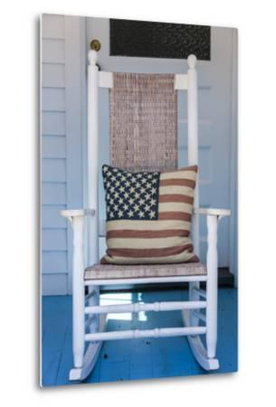 USA, Massachusetts, Cape Cod, Provincetown, the West End, Rocking Chair with Us Flag