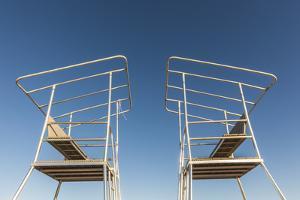 USA, Massachusetts, Duxbury. Duxbury Beach, lifeguard towers by Walter Bibikow