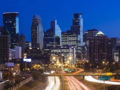 USA, Minnesota, Minneapolis, City Skyline from Interstate Highway I-35W