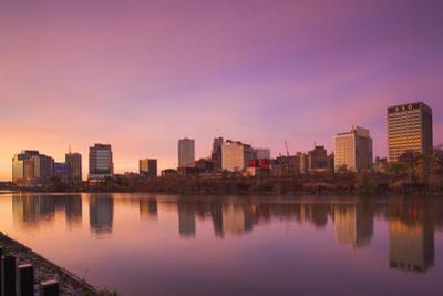 USA, New Jersey, Newark, City Skyline from Passaic River, Dawn by Walter Bibikow