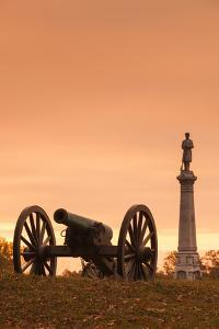 USA, Pennsylvania, Gettysburg, Battlefield Monument and Cannon by Walter Bibikow