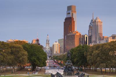 USA, Pennsylvania, Philadelphia, City Skyline from the Parkway, Dusk