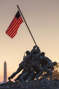 USA, Virginia, Arlington, Us Marine and Iwo Jima Memorial, Dawn by Walter Bibikow