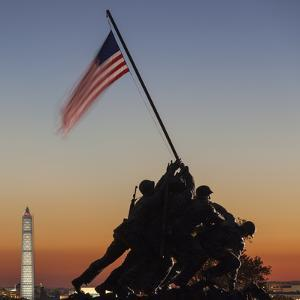 USA, Virginia, Arlington, Us Marine and Iwo Jima Memorial, Dawn by Walter Bibikow