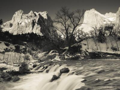 Utah, Zion National Park, Mountain Sunrise by the North Fork Virgin River, Winter, USA