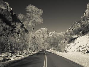 Utah, Zion National Park, Zion Canyon Scenic Drive, Winter, USA by Walter Bibikow