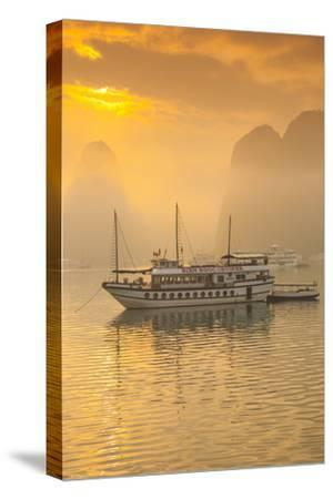 Vietnam, Halong Bay, Tourist Boats, Sunrise