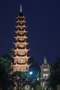 Vietnam, Hanoi. Tay Ho, West Lake, Tran Quoc Pagoda, Dusk by Walter Bibikow