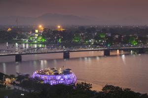 Vietnam, Hue. Trang Tien Bridge and Perfume River, Elevated View, Dusk by Walter Bibikow