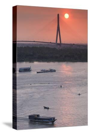 Vietnam, Mekong Delta. Can Tho, Can Tho Bridge, Elevated View, Sunrise