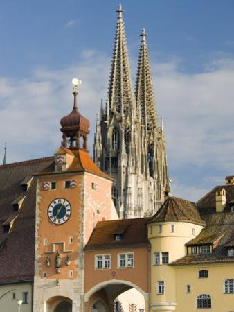 View from Danube River and Steinerne Bridge, Regensburg, Bavaria, Germany by Walter Bibikow