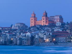 View with Duomo from Beach, Cefalu, Sicily, Italy by Walter Bibikow