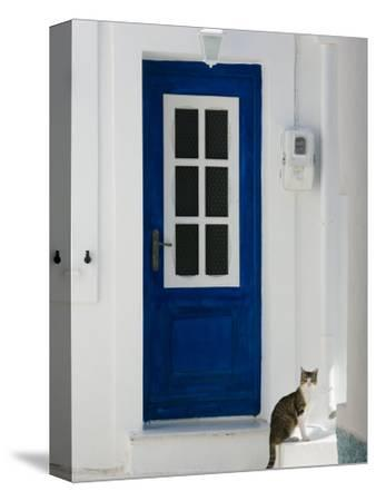 Village Door with Cat, Kokkari, Samos, Aegean Islands, Greece