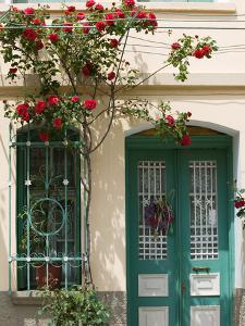Village Doorway, Agiasos, Lesvos, Mytilini, Aegean Islands, Greece by Walter Bibikow