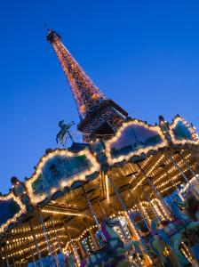 Winter View of the Eiffel Tower and Carousel, Paris, France by Walter Bibikow