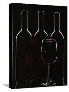 Silhouette of Three Red Wine Bottles and One Red Wine Glass by Walter Cimbal