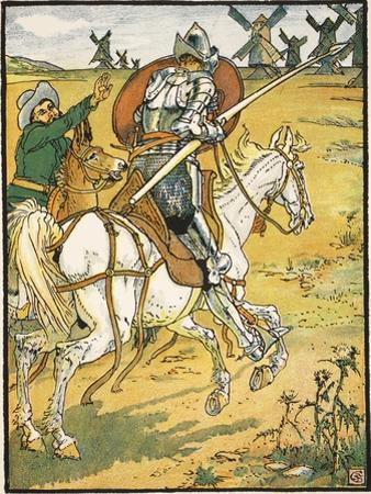 Don Quixote and the Windmills, Illustration from 'Don Quixote of the Mancha' Retold by Judge Parry by Walter Crane