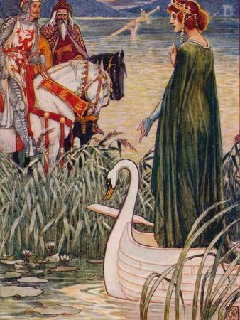 'King Arthur asks the Lady of the Lake for the sword Excalibur', 1911