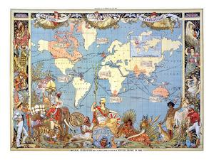 Map: British Empire, 1886 by Walter Crane