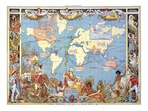 Map: British Empire, 1886 by Walter Crane