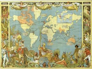 Map of the British Empire in 1886 by Walter Crane