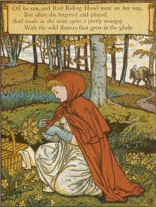 Red Riding Hood Makes a Pretty Nosegay with Wild Flowers from the Glade by Walter Crane