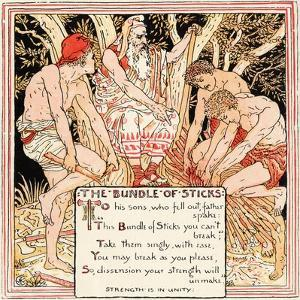 The Bundle of Sticks, Illustration from 'Baby's Own Aesop', Engraved and Printed by Edmund Evans,… by Walter Crane