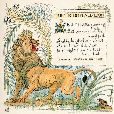 The Frightened Lion, Illustration from 'Baby's Own Aesop', Engraved and Printed by Edmund Evans,…