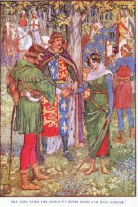The King Joins the Hands of Robin Hood and Maid Marian, C.1920 by Walter Crane